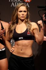 RONDA ROUSEY and BETHE CORREIA at UFC 190 Weigh In at HSBC Arena in Rio De Janeiro