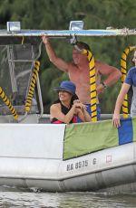 SALMA HAYEK Ttakes a Boat Ride on Vacation in Hawaii 08/20/2015