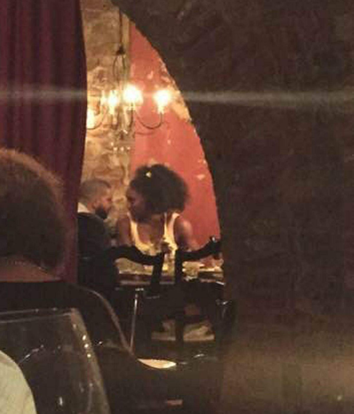 SERENA WILLIAMS and Drake Kiss and Cuddle at a Restaurant in Cincinnati 08/23/2015