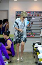 SHARON STONE at a Nail Salon in Los Angeles 08/12/2015