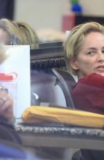 SHARON STONE at a Nails Salon in Los Angeles 08/26/2015