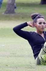 STEPHANIE DAVIS in Tights Workout in a Park in Manchester 07/29/2015
