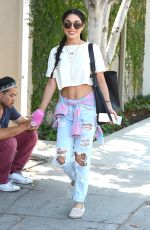 VANESSA HUDGENS in Ripped Jeans Heading to Kate Sommerville Skin Care in Los Angeles 08/26/2015