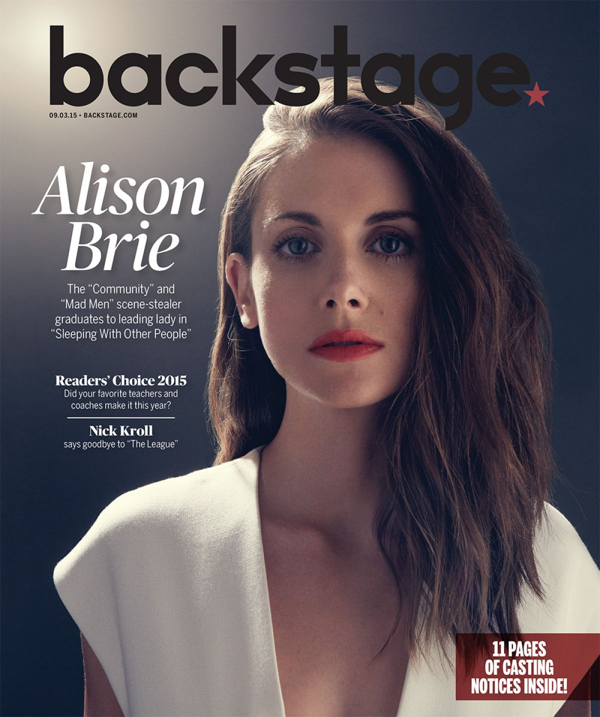 ALISON BRIE in Backstage Magazine, September 2015 Issue