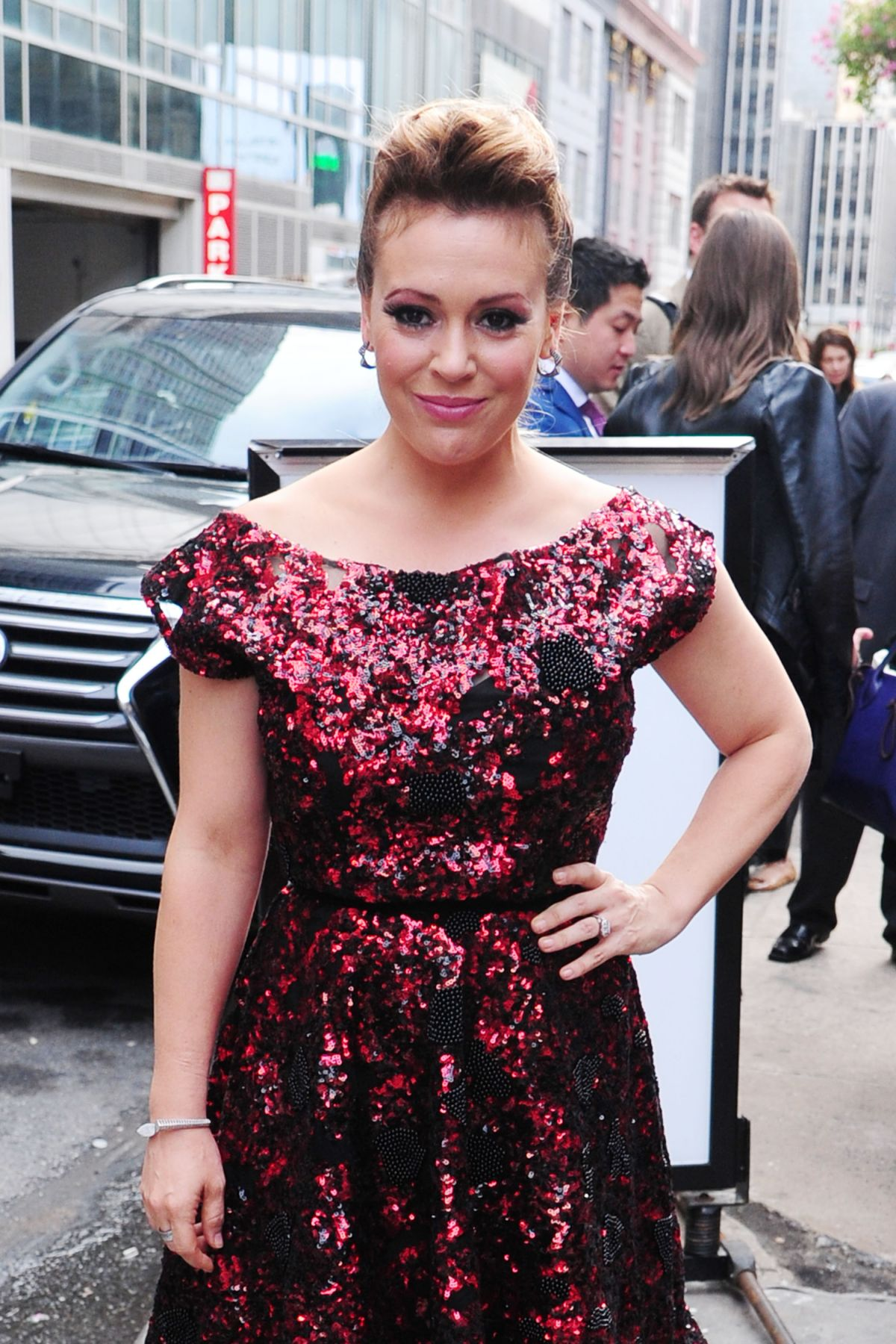 ALYSSA MILANO Out at New York Fashion Week in New York 09/11/2015