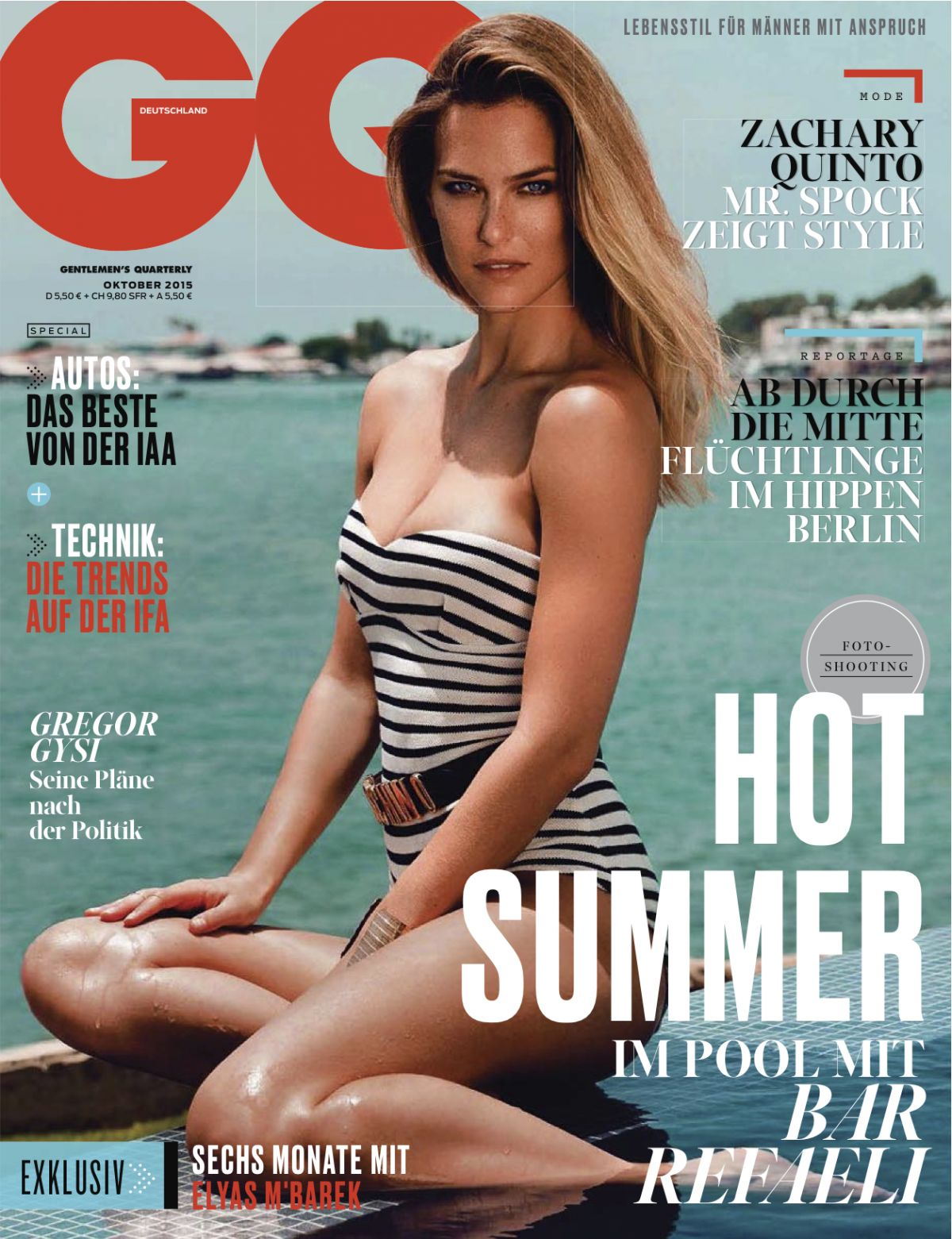 2015 Gq Men Of The Year Party In Los Angeles: BAR REFAELI In GQ Magazine, Germany October 2015 Issue