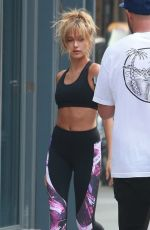 HAILEY BALDWIN in tank Top on the Set of a Photoshoot in New York 09/02/2015