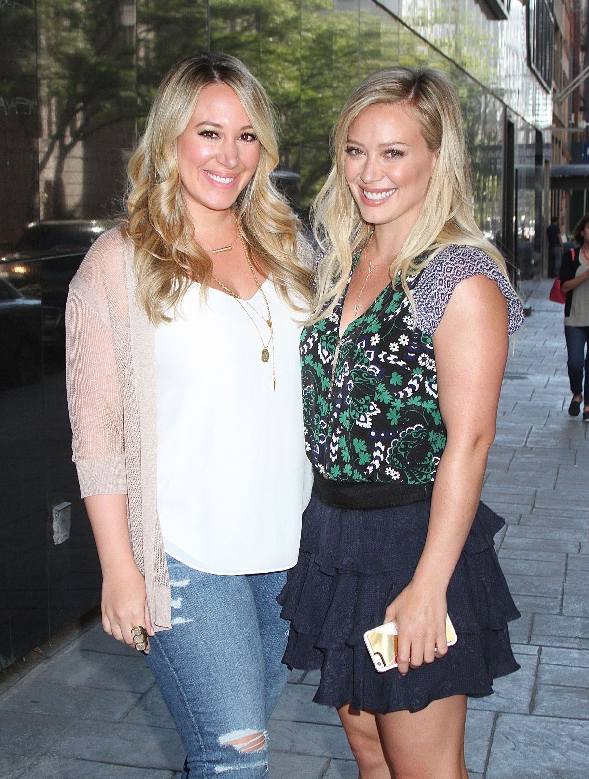 HILARY and HAYLIE DUFF Leaves Good Day New York Studio in New York 09/15/2015