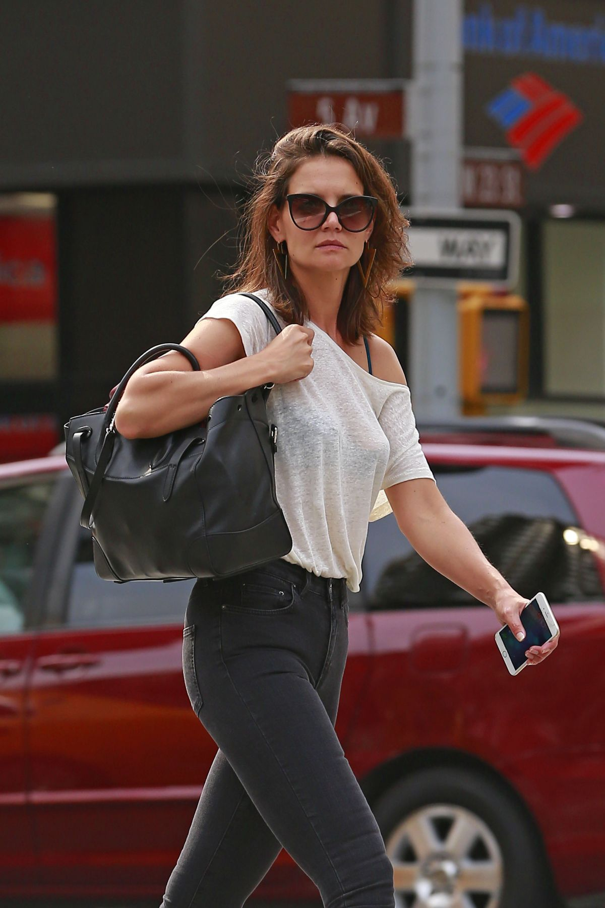 KATIE HOLMES Out and About in New York 08/30/2015
