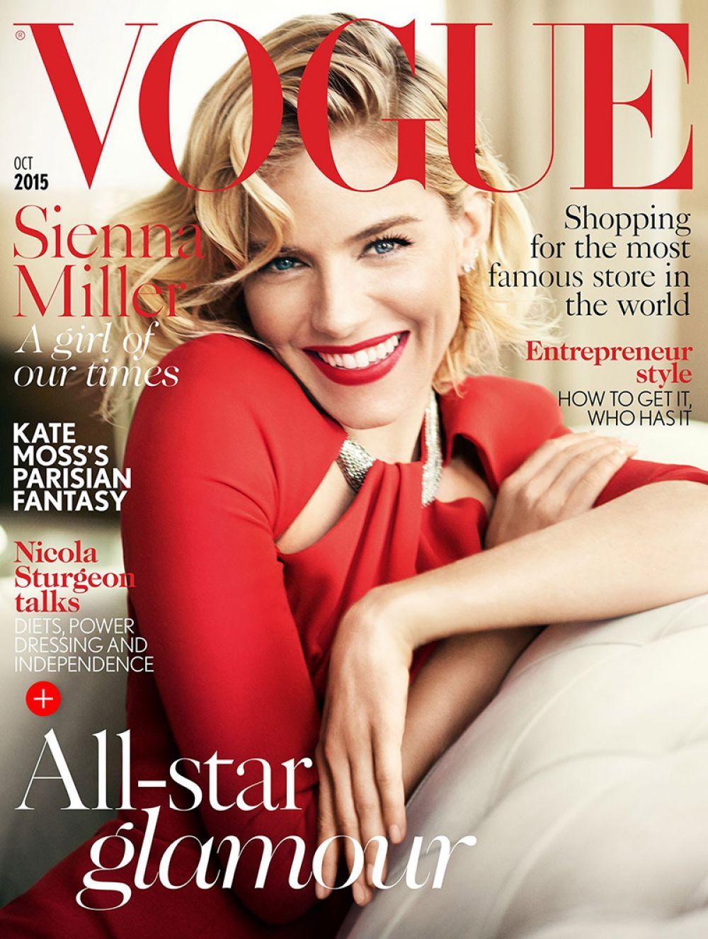SIENNA MILLER in Vogue Magazine, October 2015 Issue