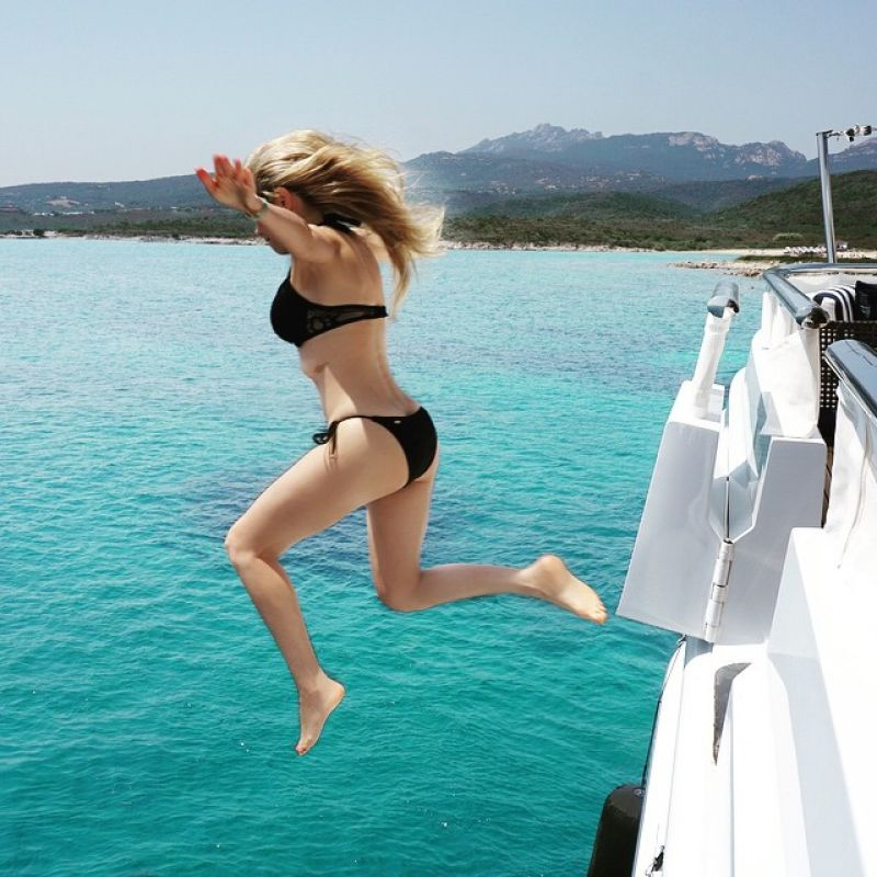 THALIA in Bikini at a Boat, Instagram Pics, July 2015