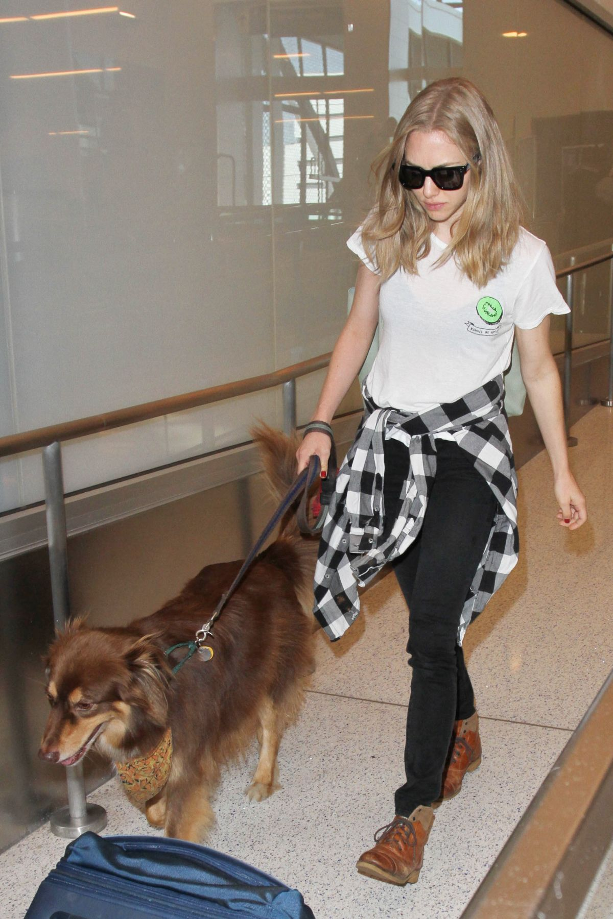 AMANDA SEYFRIE and Finn at LAX Airport in Los Angeles 10/13/2015