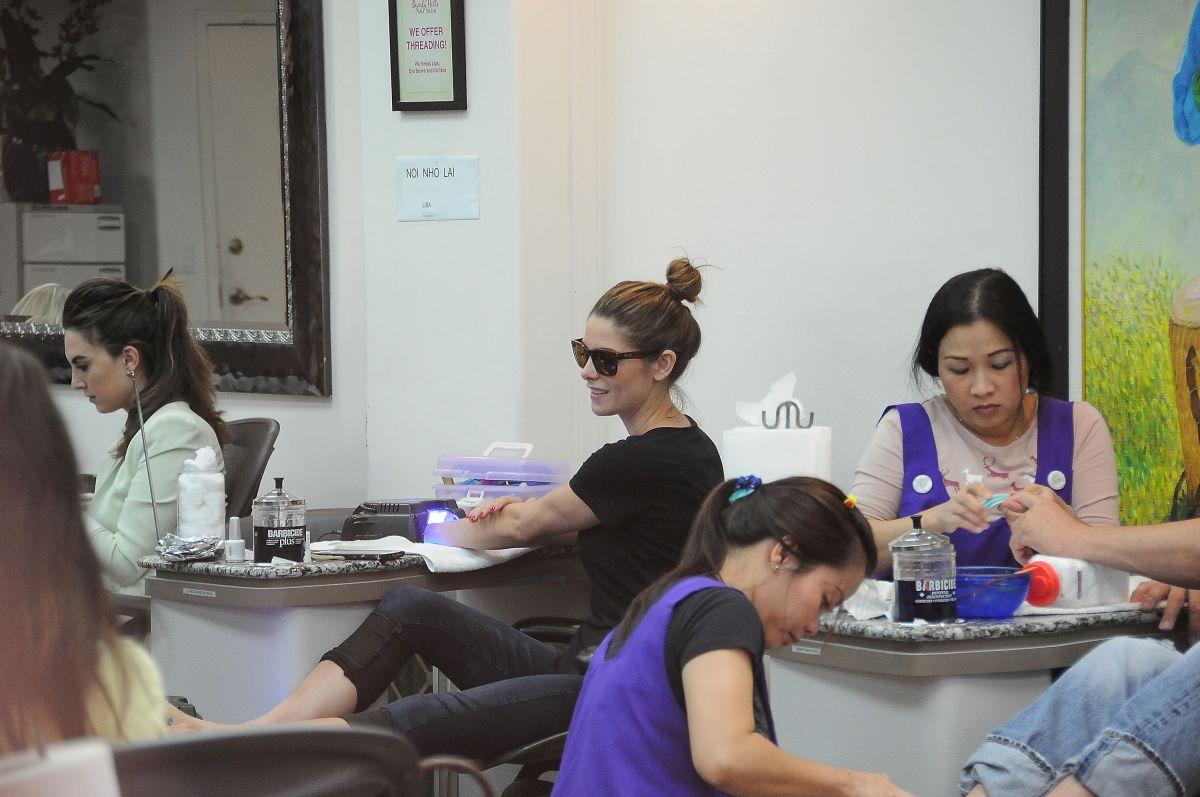 ASHLEY GREENE at a Nail Salon in Los Angeles 10/23/2015 - HawtCelebs