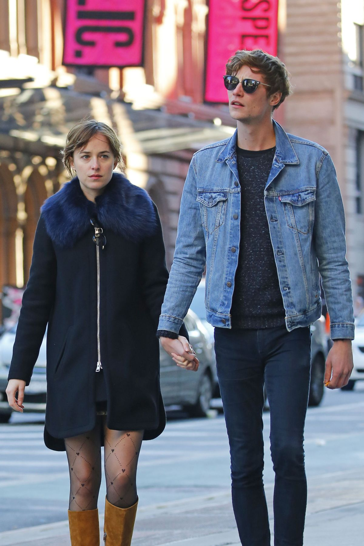 DAKOTA JOHNSON and Matthew Hitt Out and About in East Village 10/18/2015
