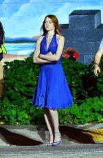EMMA STONE on the Set of La La Land in Hollywood 10/23/2015