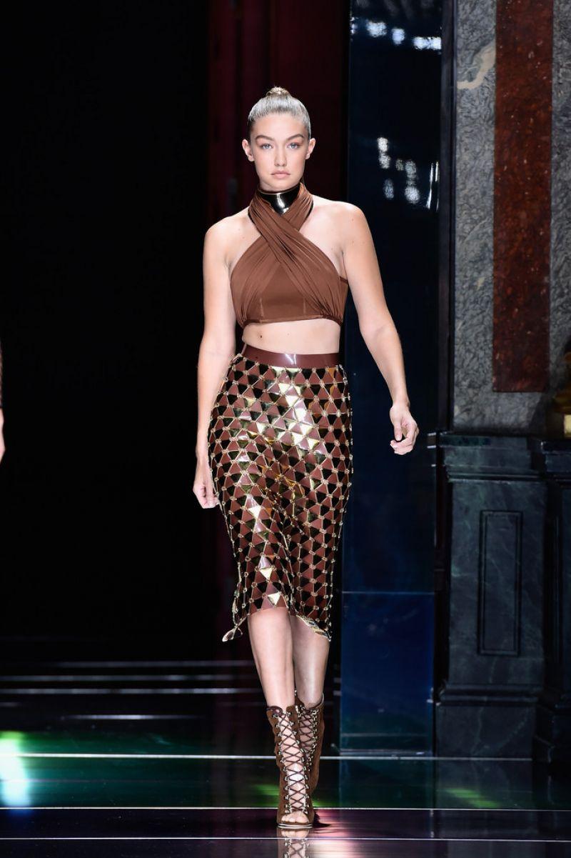 Gigi hadid at balmain fashion show at paris fashion week for Gigi hadid fashion week