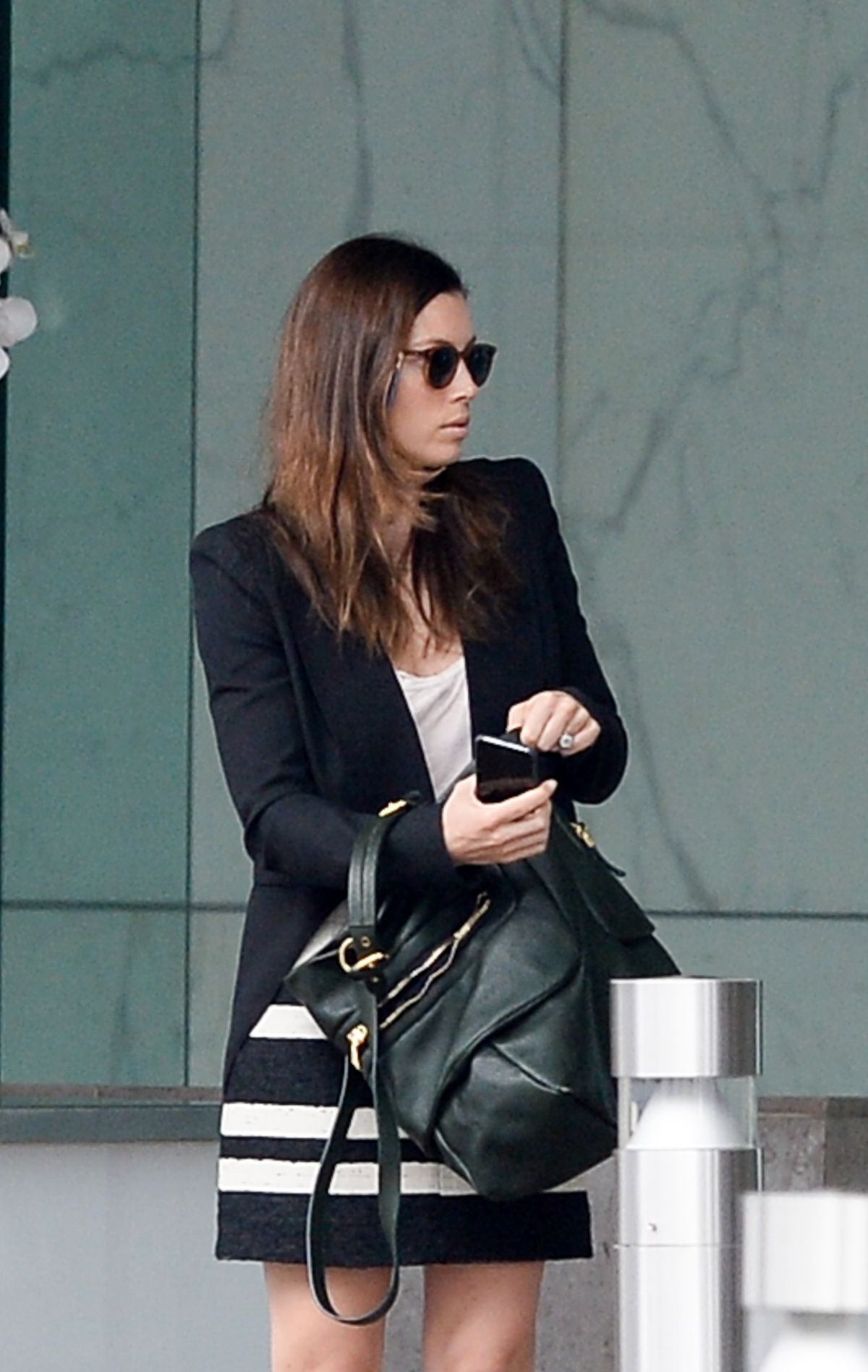JESSICA BIEL Leaves a Business Meeting in Century City 10/28/2015