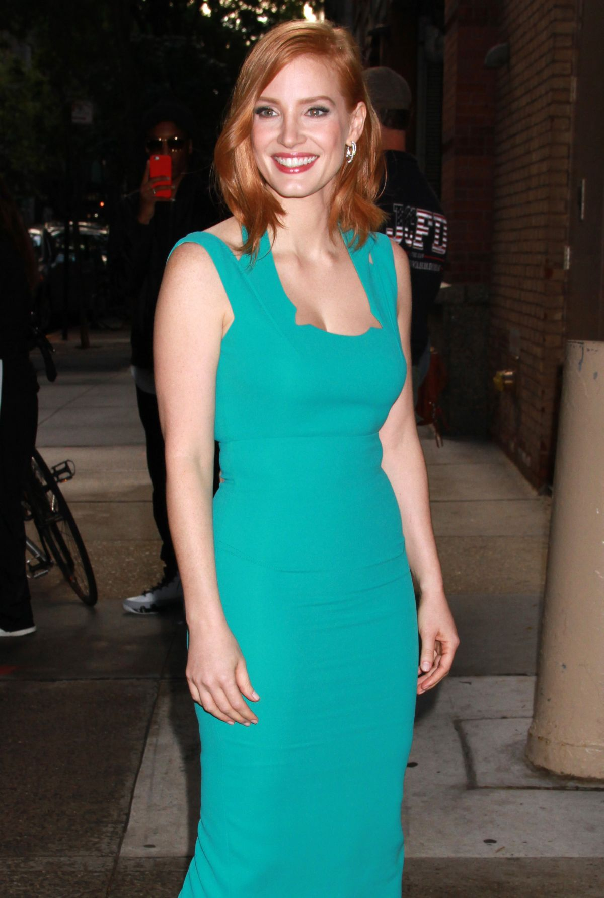 JESSICA CHASTAIN Arrives at Live With Kelly & Michael in New York 10/13/2015