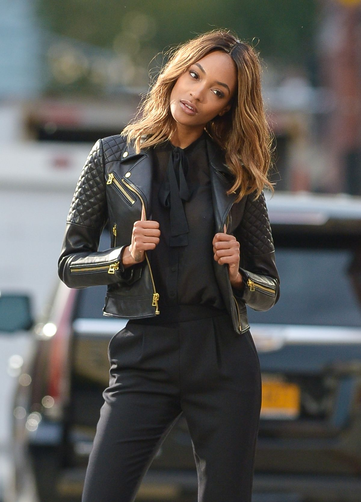 JOURDAN DUNN on the Set of a Photoshoot in New York 10/22/2015