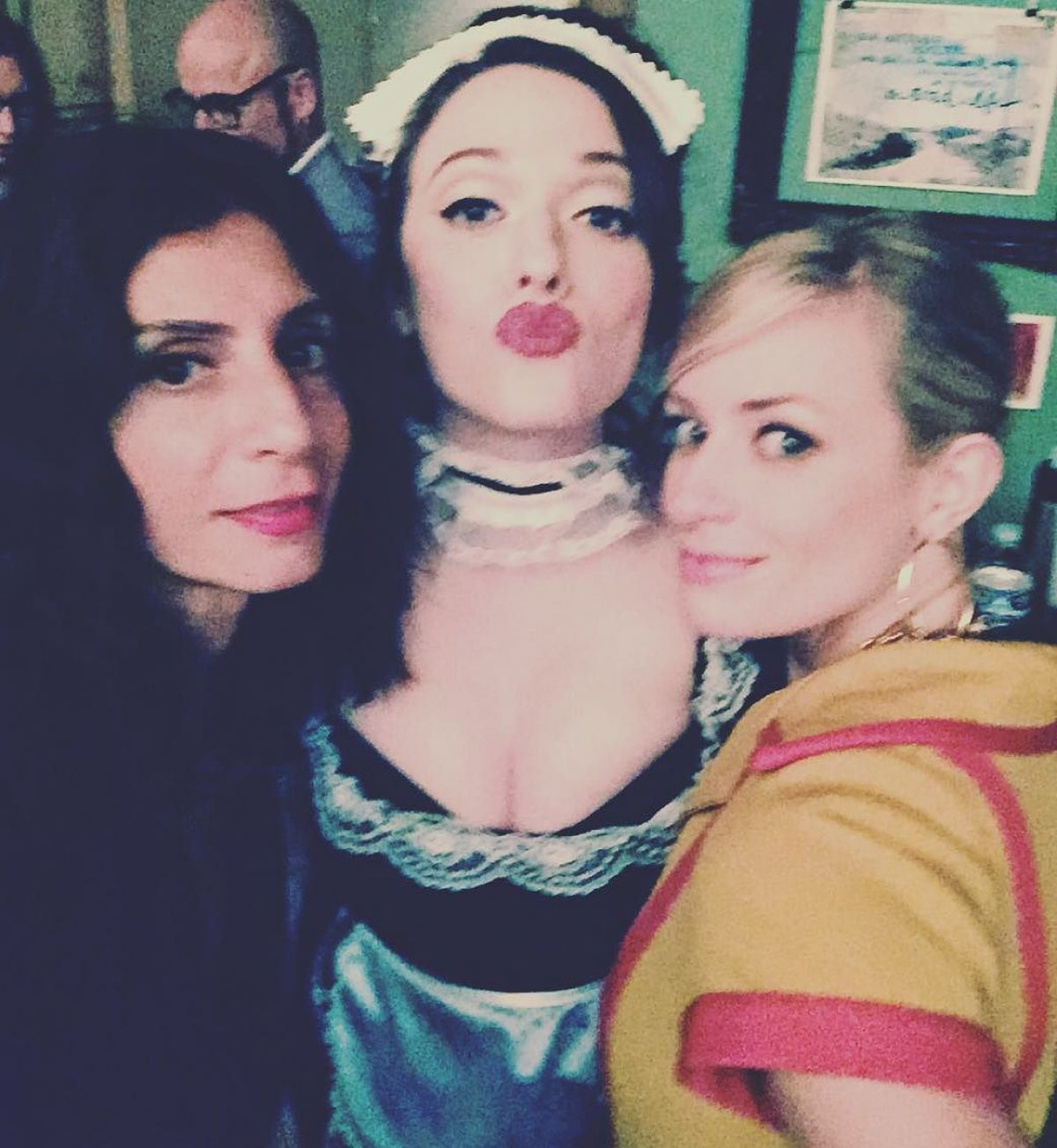 KAT DENNINGS as French Maid on the Set of 2 Broke Girls 09/22/2015