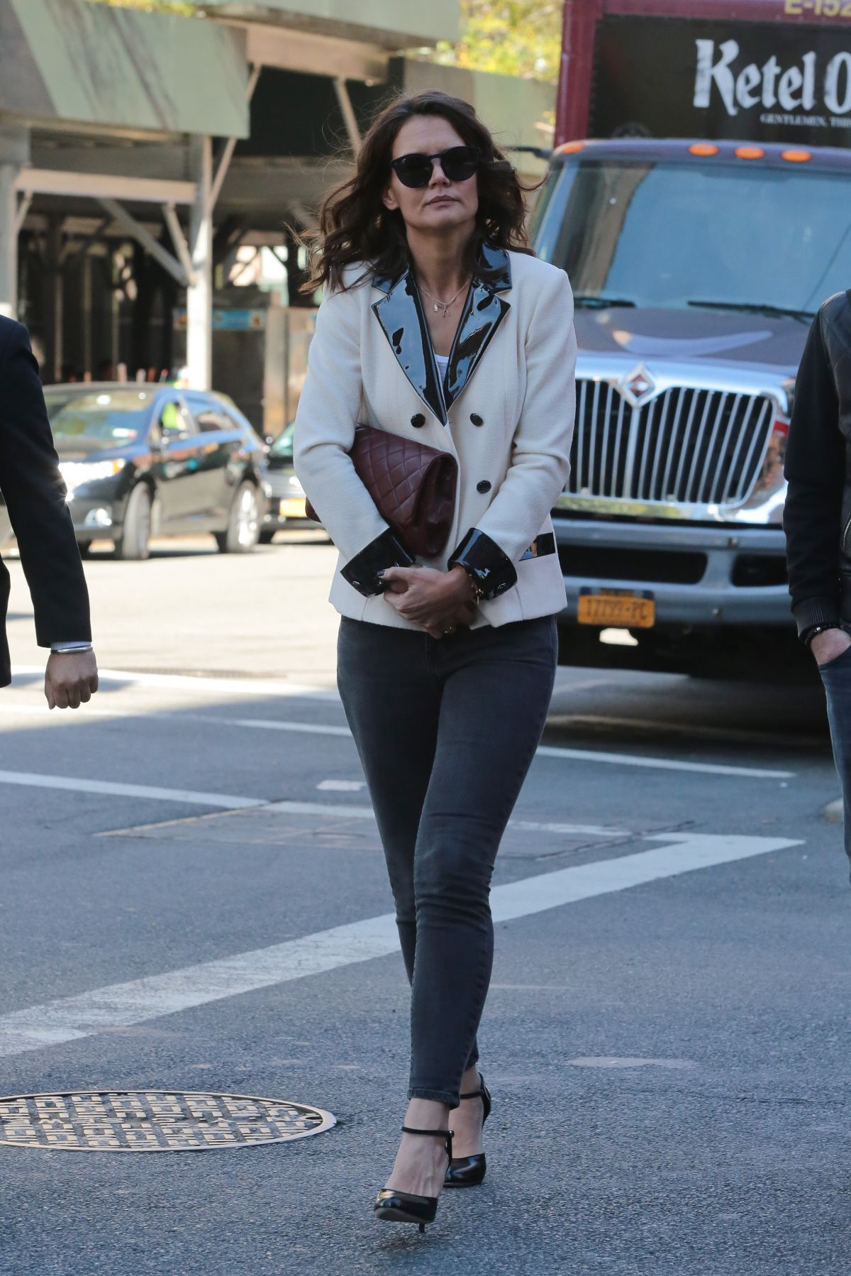 KATIE HOLMES Out and About in New York 10/26/2015