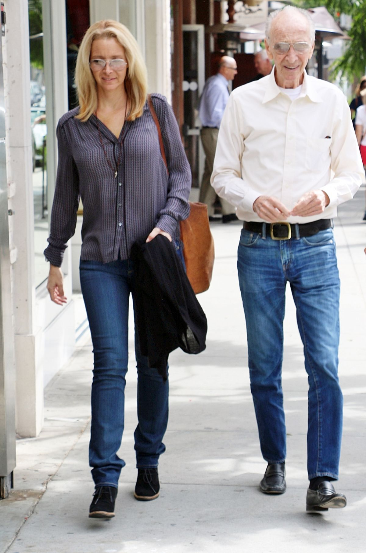 LISA KUDROW Out With Her Dad in Beverly Hills 10/28/2015