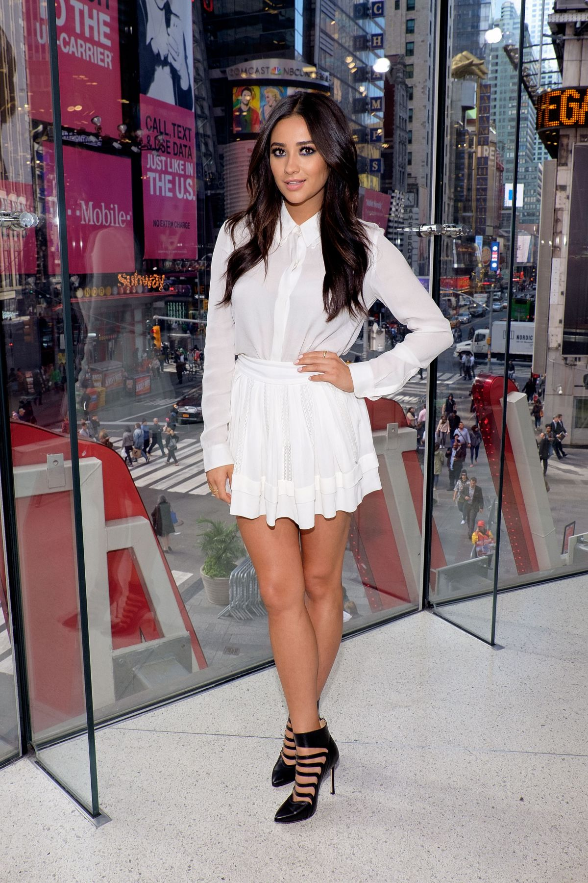 SHAY MITCHELL on the Set of Extra in New York 10/05/2015