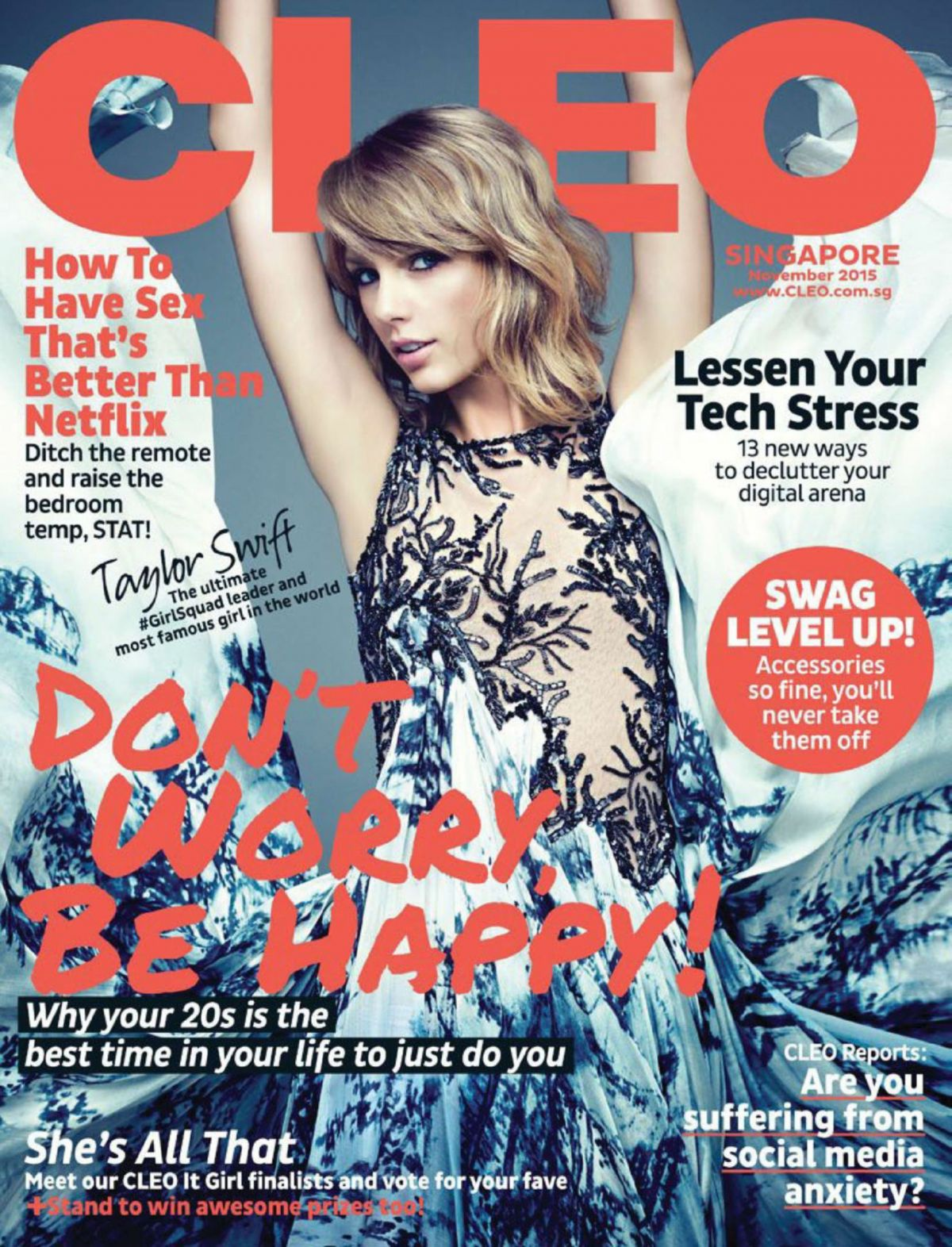 TAYLOR SWIFT on the Cover of Cleo Magazine, November 2015 Issue