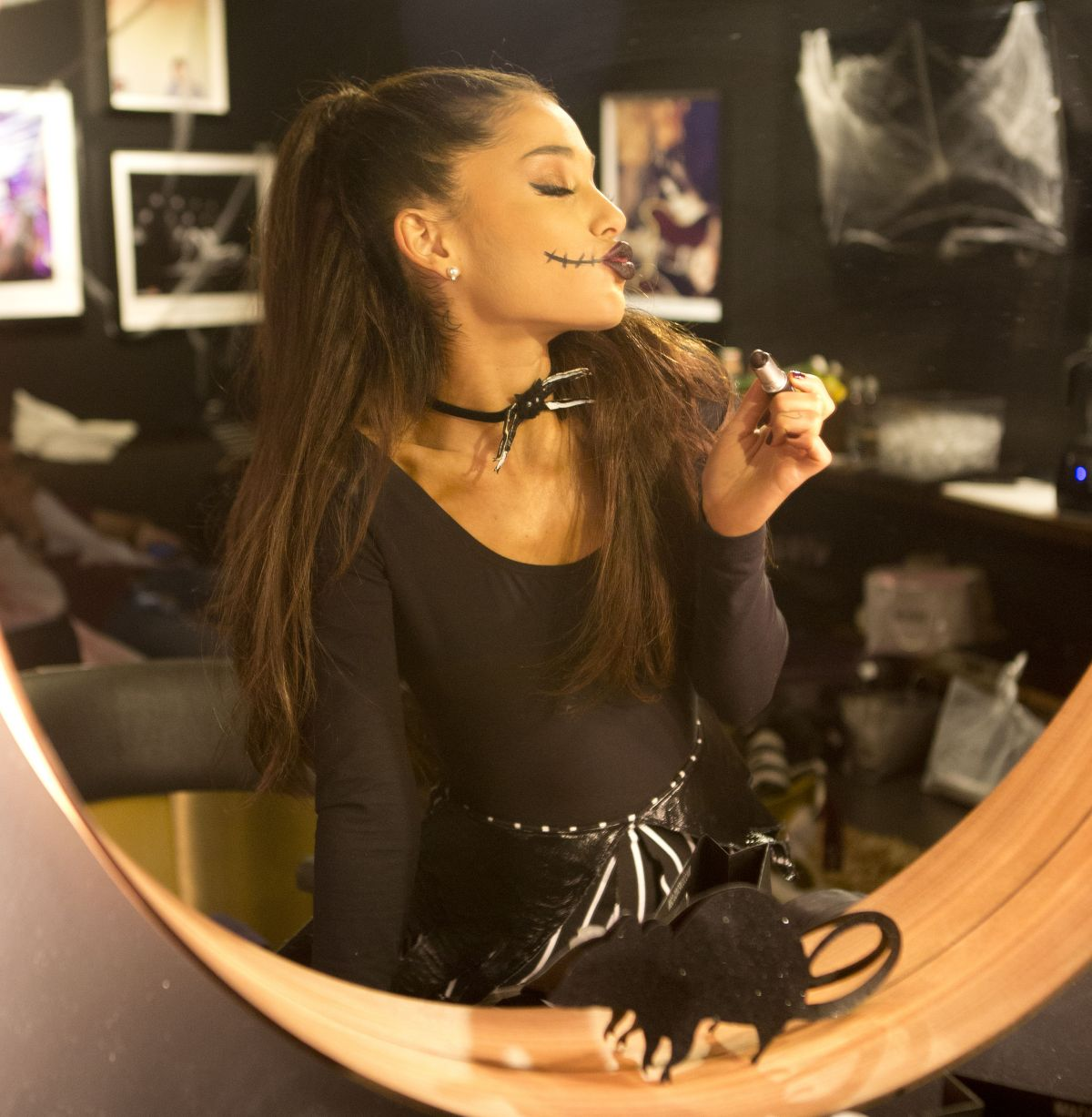 Full ...  sc 1 st  HawtCelebs & ariana-grande-in-black-cat-suit-halloween-costume-before-iheart ...