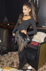 ARIANA GRANDE in Black Cat Suit Halloween Costume Before iheart Radio Performance in Burbank 10/30/2015