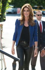 CINDY CRAWFORD on the Set of Extra in Los Angeles 11/04/2015