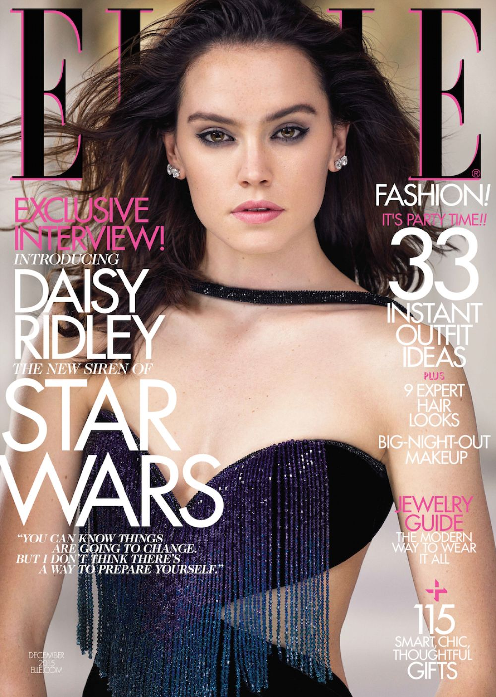 DAISY RIDLEY by Mark Seliger for Elle Magazine, December 2015 Issue