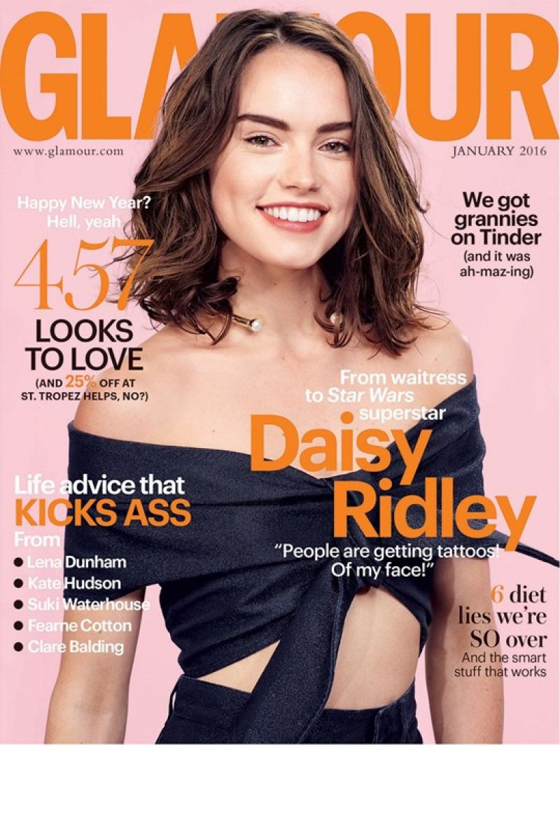 DAISY RIDLEY in Glamour Magazine, UK January 2016 Issue