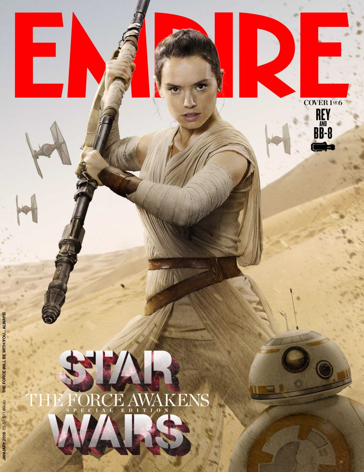 DAISY RIDLEY on the Cover of Empire Magazine, January 2016 Issue