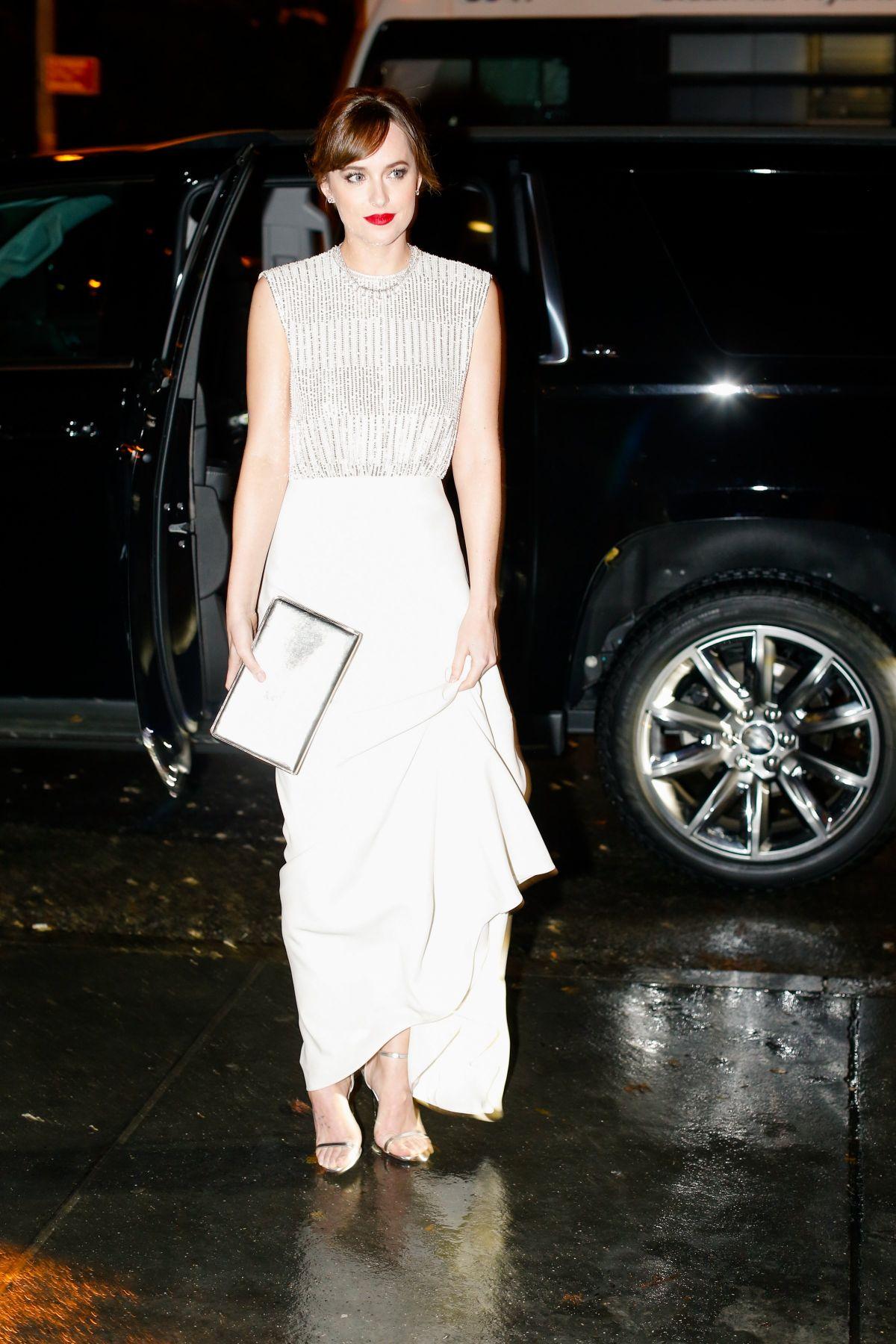DAKOTA JOHNSON Arrives at Guggenheim International Gala Dinner by Dior in New York 11/05/2015
