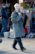 ELLE FANNING on the Set of How to Talk to Girls at Parties in Sheffield 11/13/2015