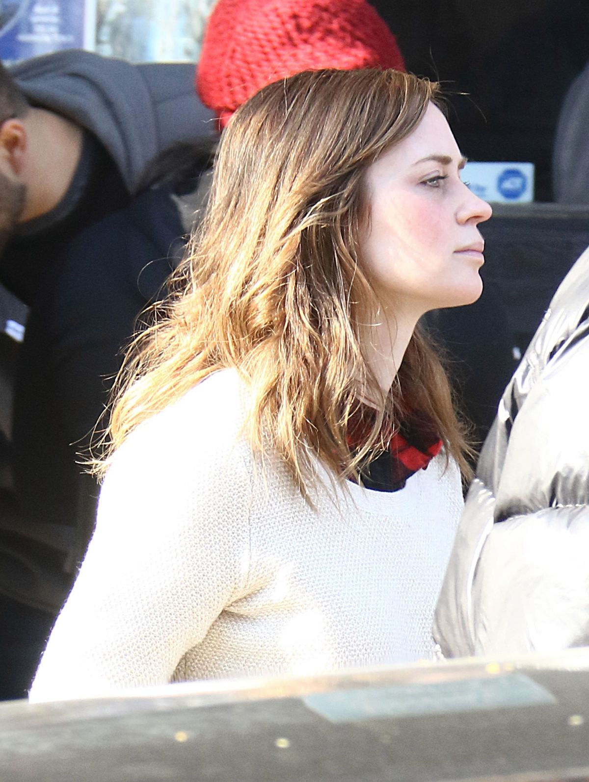 EMILY BLUNT on the Set of Girl on the Train in New York 11/15/2015