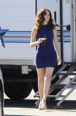 EMMY ROSSUM in Tight Dress on the Set of Shameless in Los Angeles 11/13/2015