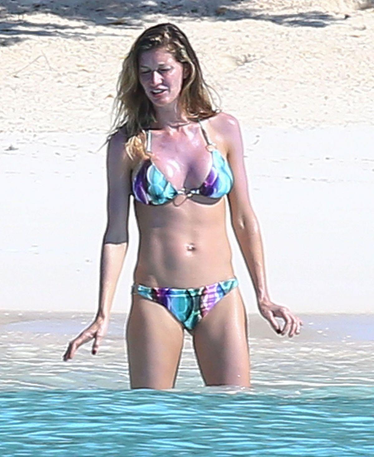 GISELE BUNDCHEN in Bikini on the Beach in Bahamas 11/01/2015