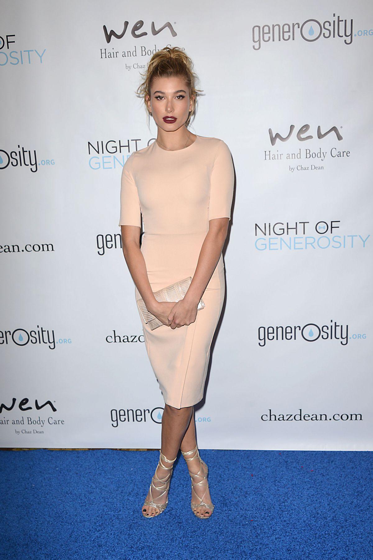 HAILEY BALDWIN ar 7th Annual Night of Generosity Gala in Beverly Hills 11/06/2015