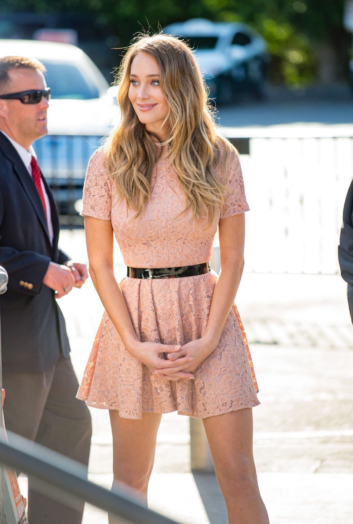HANNAH DAVIS on the Set of Extra in Los Angeles 11/10/2015