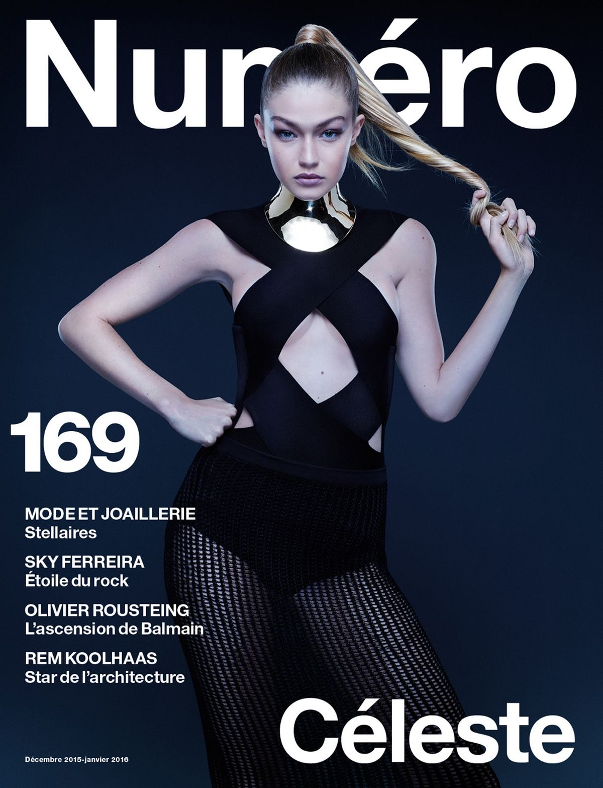 HIHI HADID in Numero Magazine, France December 2015/January 2016 Issue