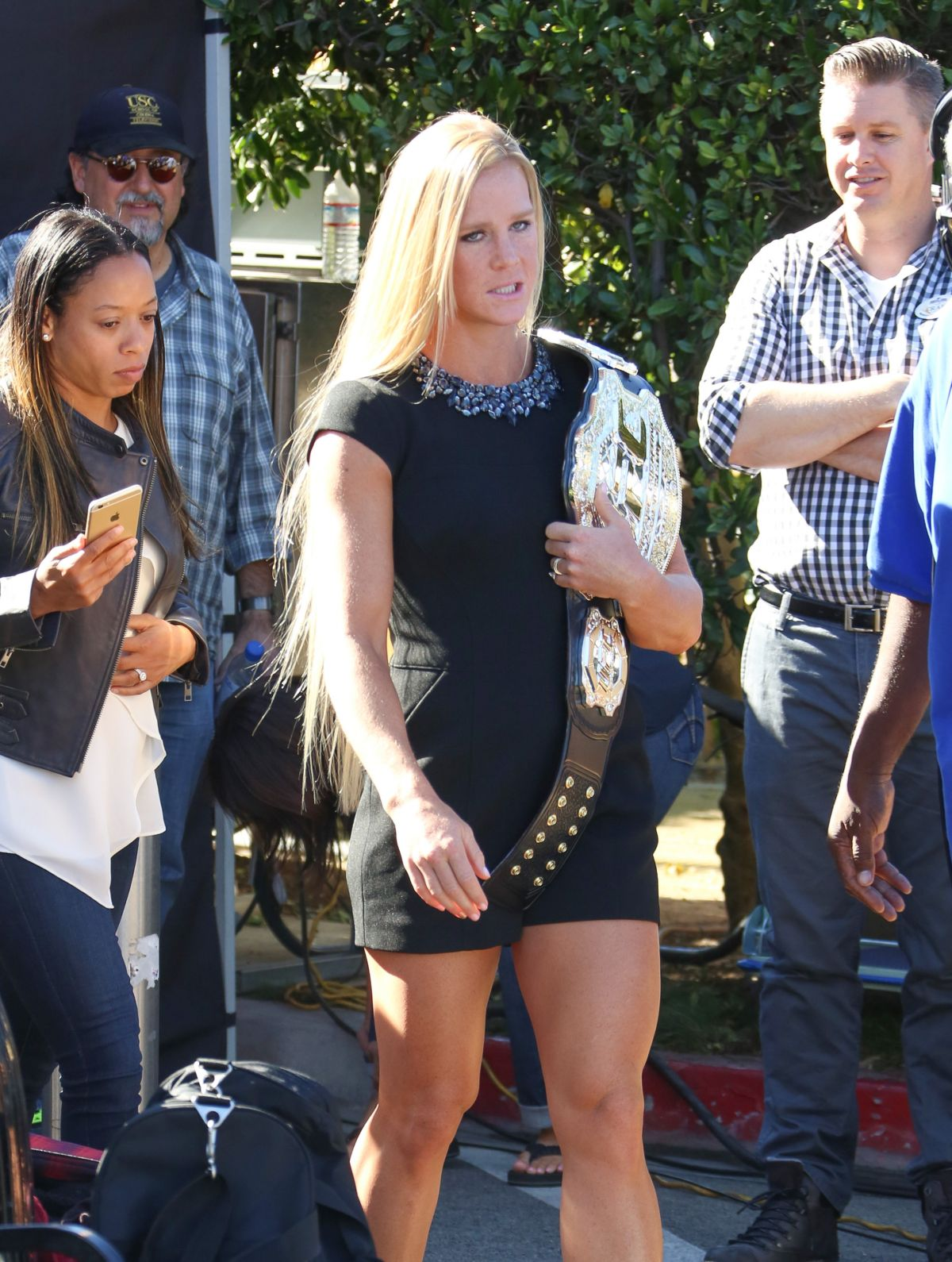 HOLLY HOLM Takes Her UFC Championship Belt at Extra in Los Angeles 11/19/15