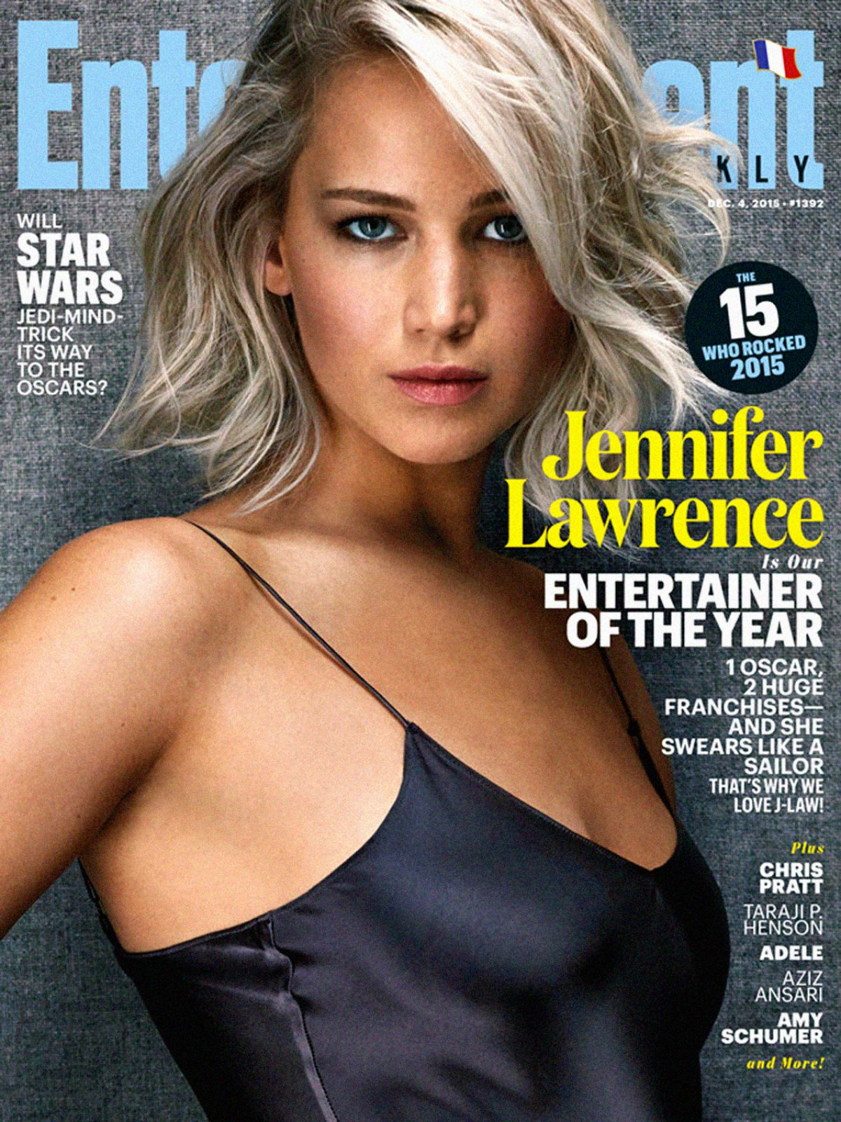JENNIFER LAWRENCE on the Cover of Entertainment Weekly, December 2015 Issue