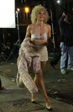 MAGGIE GYLLENHAAL on the Set of The Deuce in New York 11/04/2015