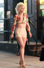 MAGGIE GYLLENHAAL on the set of The Deuce in New York 11/07/2015
