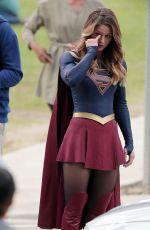 MELISSA BENOIST on the Set of Supergirl in Los Angeles 10/28/2015