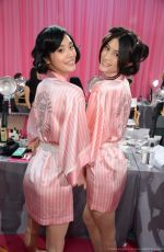 MING XI and SUI HE at Victoria's Secret 2015 Fashion Show Backstage 11/10/2015