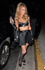 PARIS HILTON Arrives at a Halloween Party at Bootsy Bellows 10/31/2015