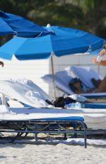 Pregnant KAROLINA KURKOVA in Bikini at a Beach in Miami 11/01/2015